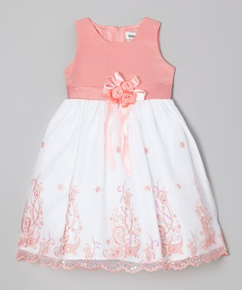 Coral Embroidered Dress - Girls