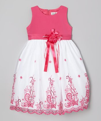 Fuchsia Embroidered Dress - Girls