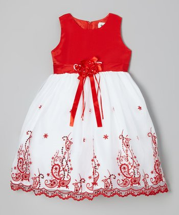 Red Embroidered Dress - Girls