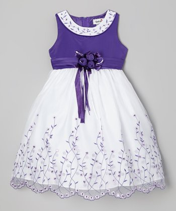 Purple Embroidered Yoke Dress - Girls