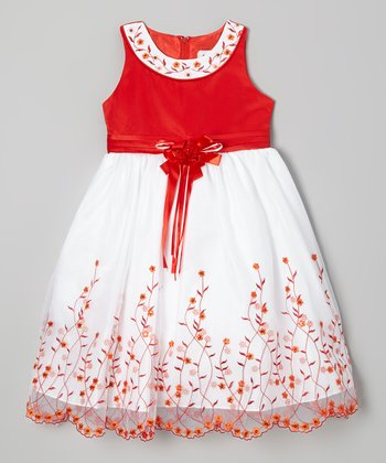 Red Embroidered Yoke Dress - Girls