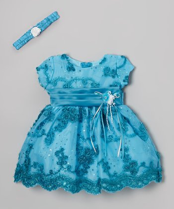 Turquoise Ribbon Dress & Headband - Infant & Toddler