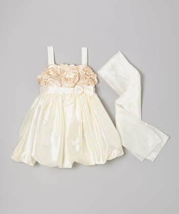 Champagne Petal Bubble Dress & Sash - Toddler & Girls