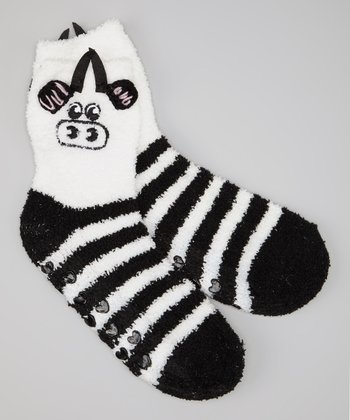 Black & White Stripe Cow Socks