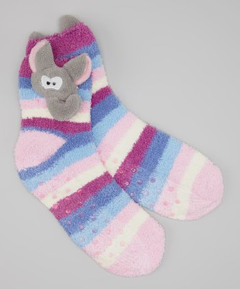 Pink & Blue Stripe Elephant Socks
