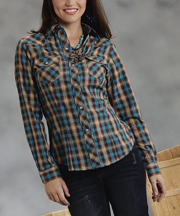 Brown Plaid Snap Top - Women & Plus