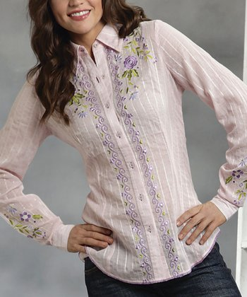 Blush Stripe Floral Embroidered Button-Up - Women & Plus