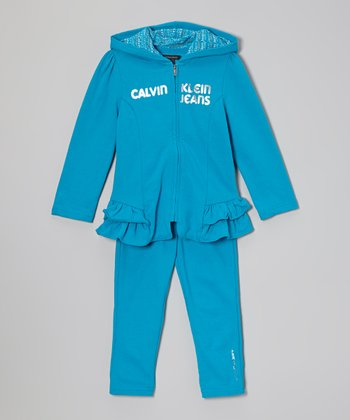 Turquoise Ruffle Zip-Up Hoodie & Leggings - Infant, Toddler & Girls