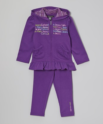 Purple Ruffle Zip-Up Hoodie & Leggings - Infant, Toddler & Girls
