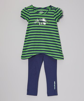 Green Stripe Sidetail Tunic & Leggings - Infant, Toddler & Girls