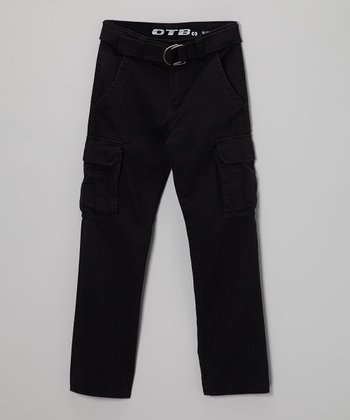 Black Twill Cargo Pants - Boys
