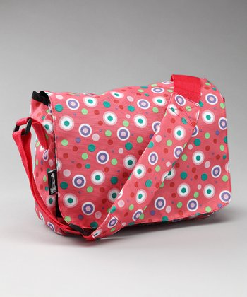 Salmon Pink Polka Dot Kickstart Messenger Bag