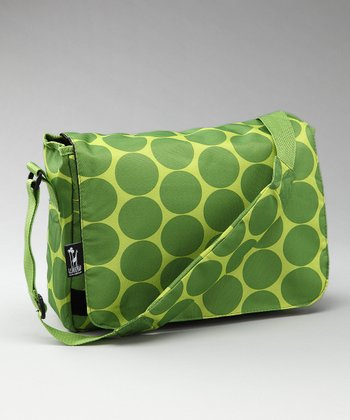 Green Big Dot Kickstart Messenger Bag