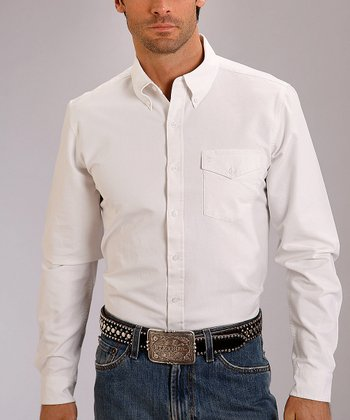 White Vintage Solid Oxford Button-Up - Men