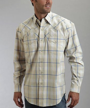 Smoke Ombré Plaid Western Button-Up - Men