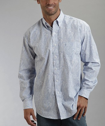 White & Blue Paisley Poplin Button-Up - Men