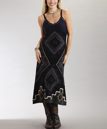 Black Tribal Crochet Dress - Women