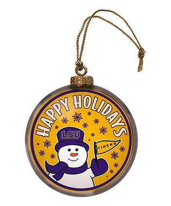 LSU Snowman Disc Ornament