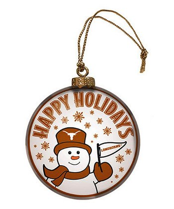 Texas Snowman Disc Ornament