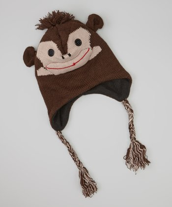 Brown Monkey Earflap Beanie