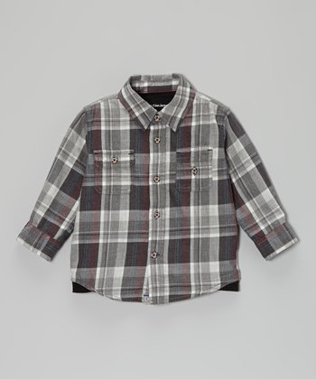 Heathered Carbon Plaid Button-Up - Infant
