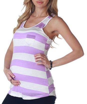 PinkBlush Maternity Lavender & White Stripe Maternity Racerback Tank - Women
