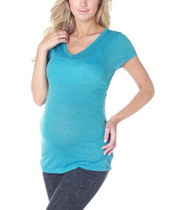 Blue Short-Sleeve Maternity Tee