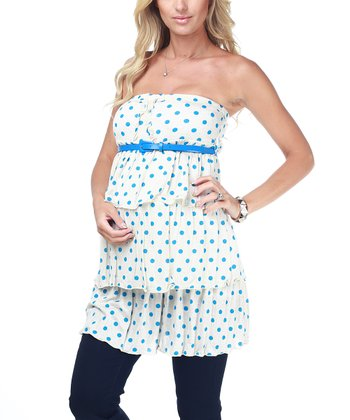 Blue & Cream Polka Dot Maternity Strapless Tunic - Women