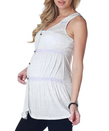 Light Gray Maternity Sleeveless Button-Up Top - Women