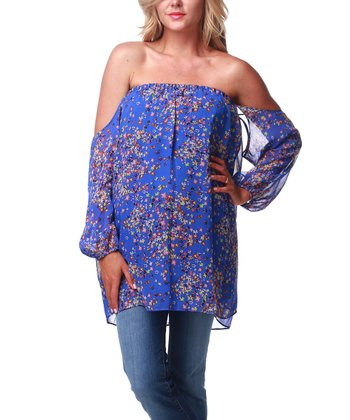 Royal Blue Off-Shoulder Maternity Top