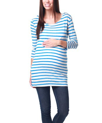 Blue & Cream Stripe Linen-Blend Maternity Top - Women