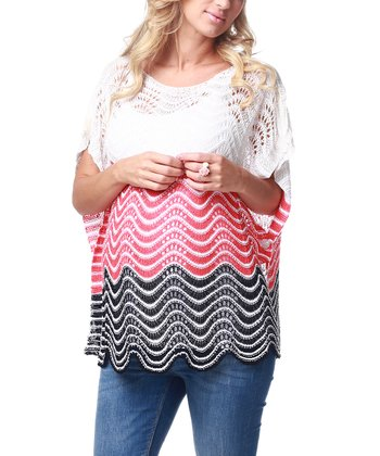 Ivory & Red Knit Maternity Top