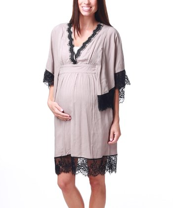 Mocha Lace-Trim Maternity & Nursing Dress