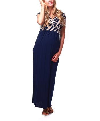 Navy Blue Geometric Maternity & Nursing Maxi Dress - Women