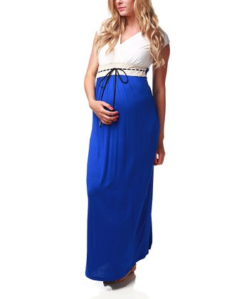 Royal Blue & White Maternity & Nursing Maxi Dress - Women