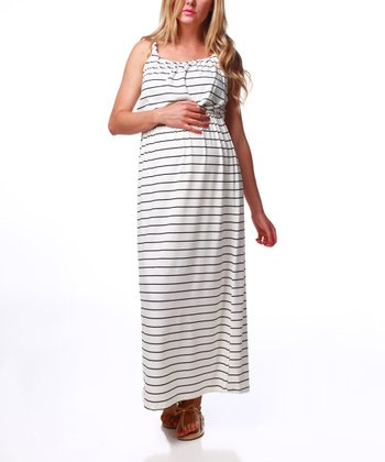 White & Black Stripe Blouson Maternity Maxi Dress