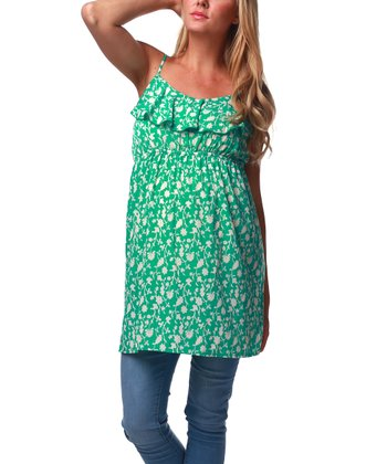 Green Floral Maternity Tunic - Women