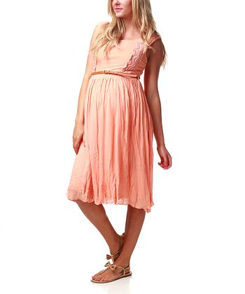 Peach Crocheted Belted Maternity Dress - Women