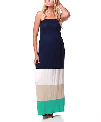 Navy Blue & Aqua Maternity Maxi Dress