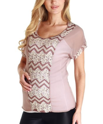 Mocha Floral Lace Accent Maternity Blouse