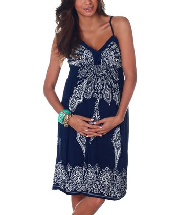 Navy & White Maternity Dress - Women