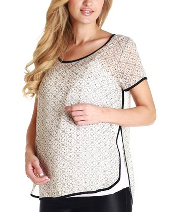 White & Black Maternity Blouse