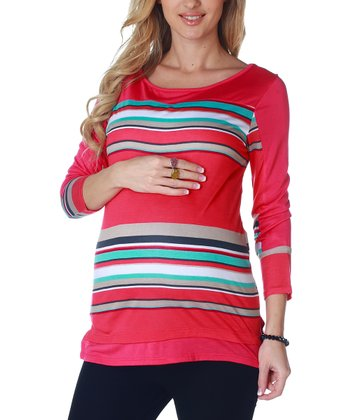 Pink & White Stripe Maternity Long-Sleeve Top - Women