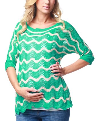 Green Wave Maternity Sweater