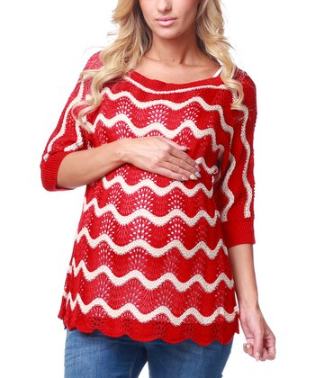 Red Wave Maternity Sweater