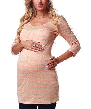 Peach & Taupe Stripe Maternity Tunic