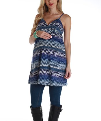 Blue Zigzag Maternity Tunic