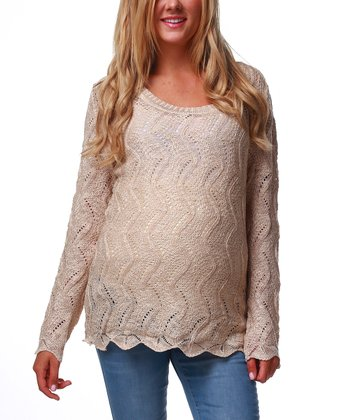 Beige Scalloped Maternity Sweater