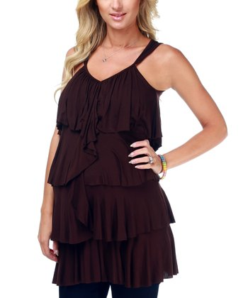 Brown Tiered Maternity Tank