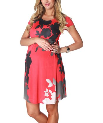 Coral Floral Maternity Cap-Sleeve Dress